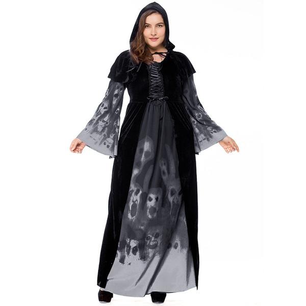Halloween Effrayant Cosplay Costumes À Capuche Sorcière Costume Grim Reaper Femmes Adultes Robe Longue Cosplay Vêtements Robe À Capuchon Cape Pour