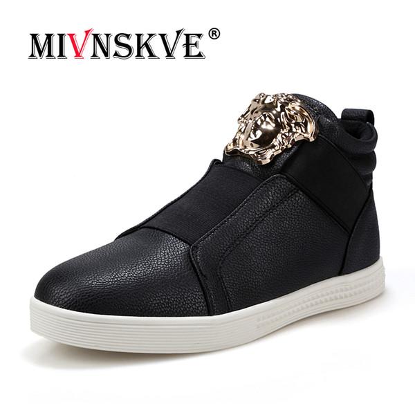MIVNSKVE Man Casual Leather Shoes Lace Up High Top Gold Punk Rock Metal Rivets Designer Man Flats Shoes Street Dance Boots