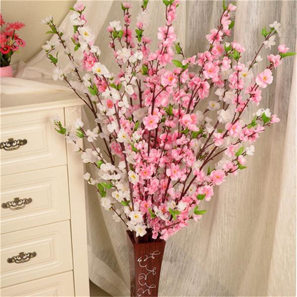 Yapay Kiraz Bahar Erik Şeftali Çiçeği Şube İpek Çiçek Ev Düğün Dekoratif Çiçekler Plastik Şeftali Buketi 65 CM P0.21