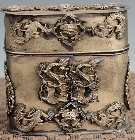 Chinois ancien style tibétain argent dragon Phoenix Statue boîte à cure-dents, étui à cigarettes