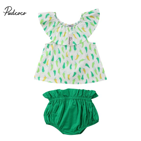 2018 Brand New Casual Newborn Toddler Infant Baby Girl Green Pepper Outfits Off-shoulder Tops Vest Shorts Pants 2Pcs Set 0-3T