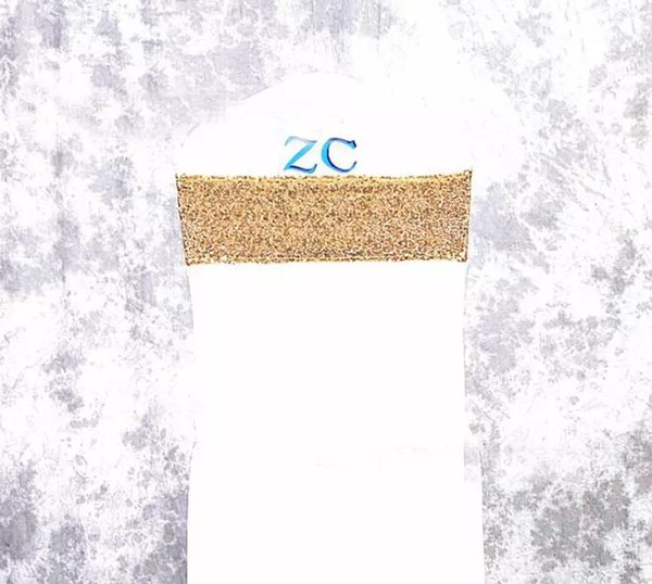 Sequins Decorated Chair Bands Gold Silver MultiColors Polyester Lycra Spandex Stretch Chair Sash Wedding Party Event Banquet Universal