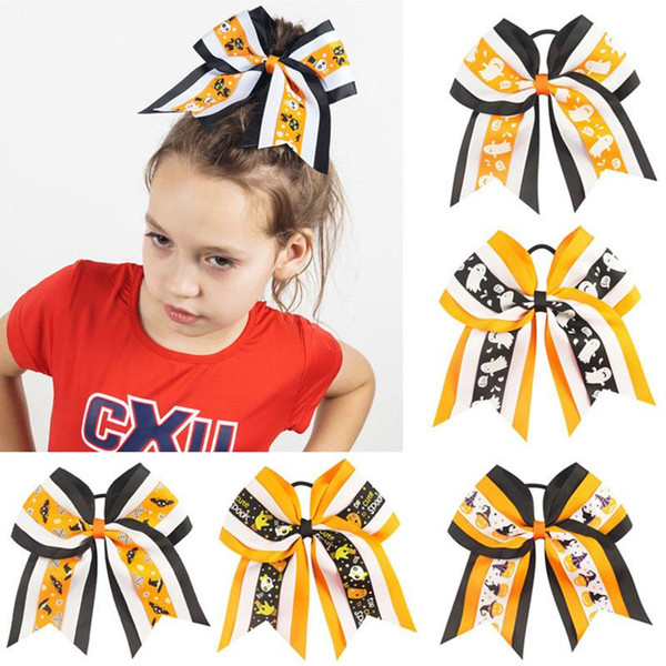 7 colors Children Halloween Hairbands baby girls pumpkin ghost printing Hair Accessories cartoon Hair ring kids Headbands 7 inches MMA453