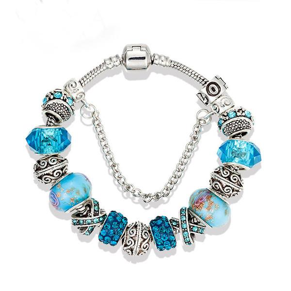 17 18 19 20 21cm charm bracelet fashion silver pandora bracelet for women blue crystal beads diy snap jewelry drop shipping