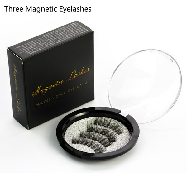 Best Selling 3D Three Magnets Magnetic Eyelashes 4pcs/pair Beauty Fake Eye Lashes Fiber Lash False Eyelashes Magnetic Eye Lashes Extension