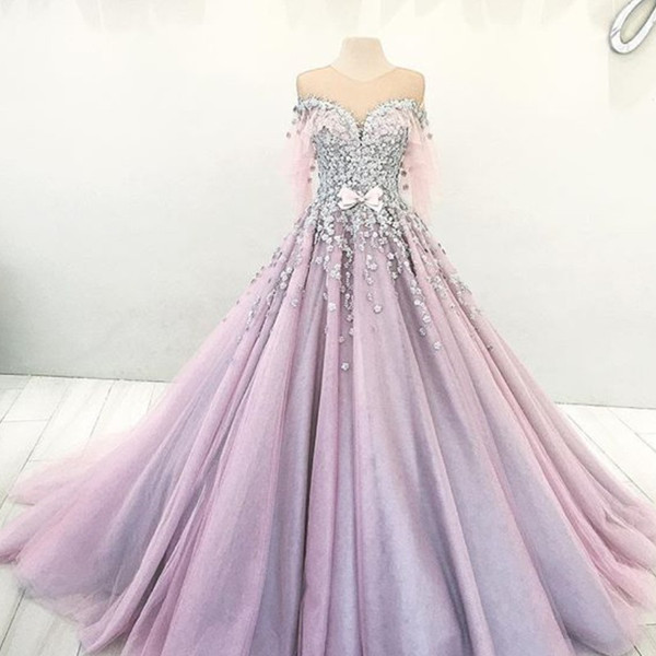 Romantic Dubai Princess Engagement Dress Sheer Jewel Neck Bow Beaded Lace Applique Evening Dresses Glamorous Puffy Ball Gown Tulle Prom Dres
