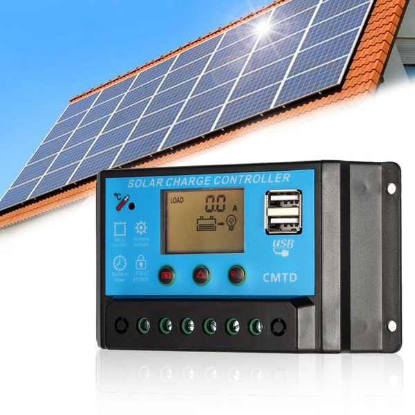 H16847-2 20A 12V/24V LCD Solar Charge Controller with Current Display Function Auto Regulator for Battery Usage