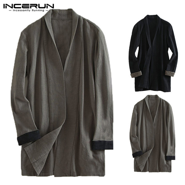 Plus Size Men Cardigan Cotton Long Sleeve Vintage Cloak Outerwear Open Stitch Casual Streetwear Men Trench Coat Hombre INCERUN