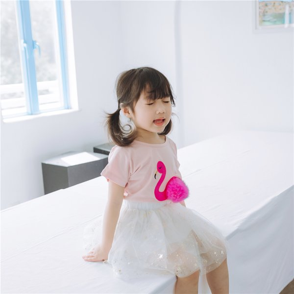 High Quality Summer Cute Baby Girls T-Shirt Cotton Short Sleeve Flamingo Print T Shirt Tees Cute Pink Kids Tops Children Clothes
