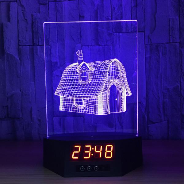3D Fée Maison Illusion Horloge Lampe Nuit Lumière RGB Lumières USB Alimenté 5ème Batterie IR Télécommande Dropshipping Boîte Au Détail