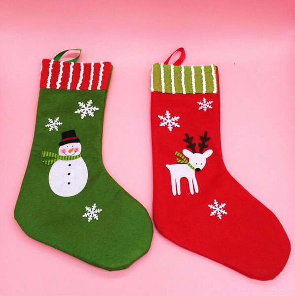 Christmas Stockings Cartoon.Cartoon Snowman Elk Snowflake Christmas Stockings Christmas Tree Decoration Stocks Home Hotel Christmas Tree Pendants Kids Candy Bag Christmas