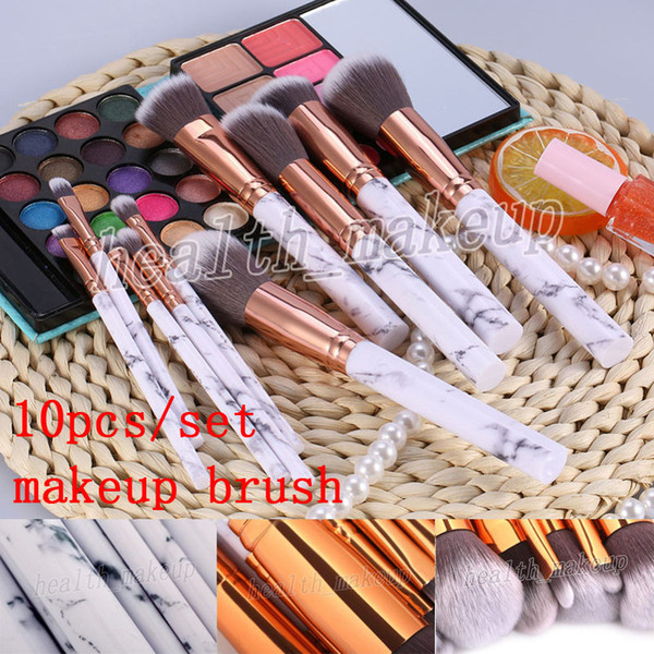 new Makeup Brushes 10pcs/set Marble makeup brush Powder Eyeshadow palette Contour Concealer Blush Cosmetic Makeup Tool DHL