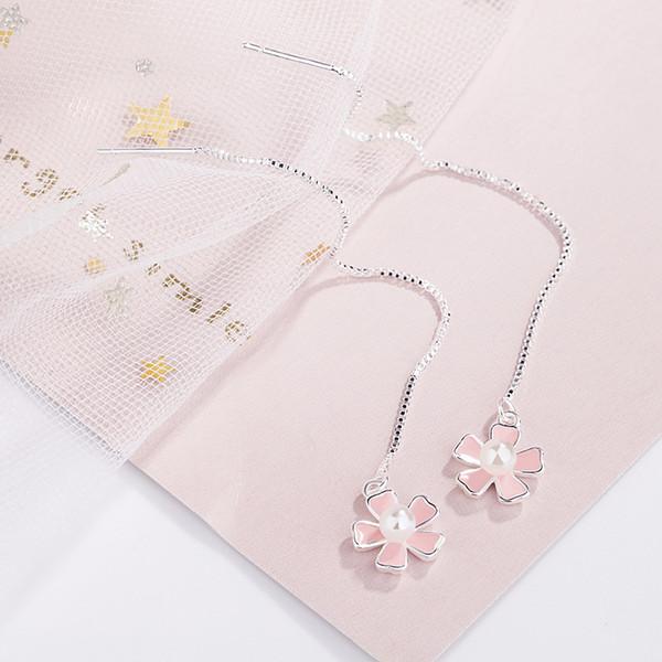 Giappone e Corea temperamento dolce e rinfrescante super fata lunga goccia a goccia Cherry Blossom linea orecchio rosa fiori orecchini perla nappa