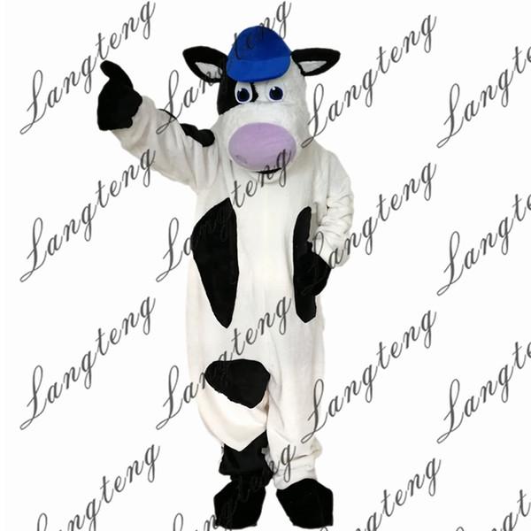 2018 Новый высокое качество черный и белый корова талисман костюмы для взрослых цирк Рождество Хэллоуин наряд необычные платья костюм Бесплатная доставка