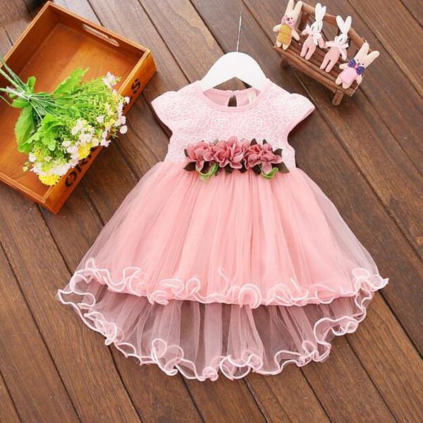 Abiti per bambini 2018 Estate Nuove neonate Vestiti Pizzo Papillon Mini A-Line Baby Princess Dress Cute Cotton Kids Clothing