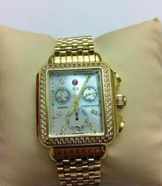 Hottest- Michele Deco Diamond Cronógrafo / día / fecha completamente funcional Reloj de cuarzo dorado Relojes de vestir para mujeres
