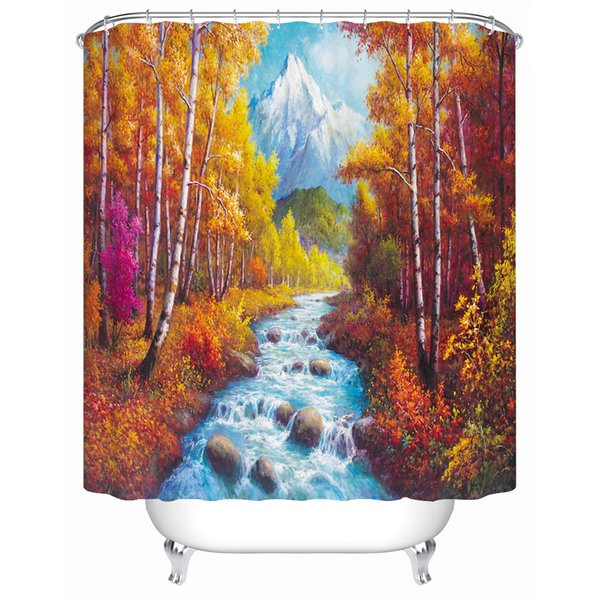 3d Scenery Shower Curtain Liner Fabric Water Resistant Cloth Curtain for Bath Decorative