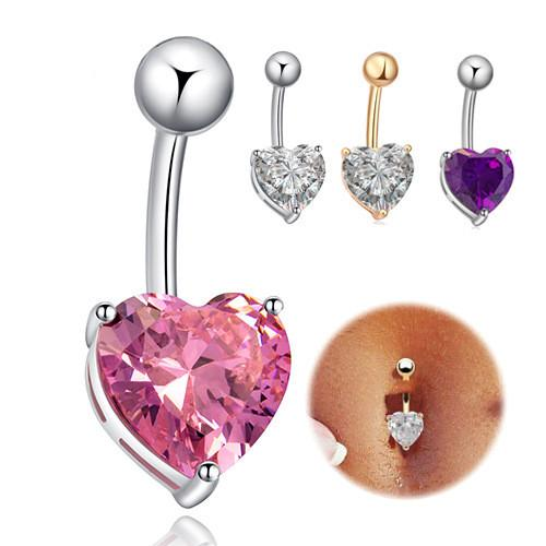 New Reverse Sexy Love Heart Cubic Zirconia Navel Ring Bar Belly Ring Dangle Body Piercing For Women