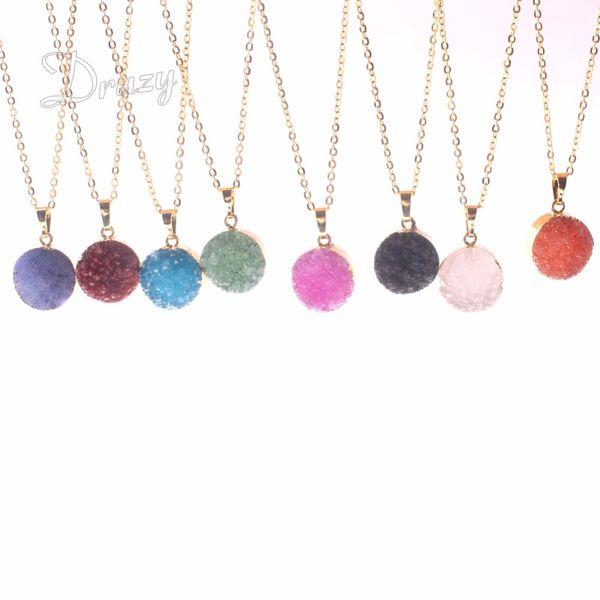 Drzuy Trendy Small Gold Color Bezel Round Shape Rough Natural Stone Purple Blue Crystal Quartz Pendant Healing Druzy Necklace