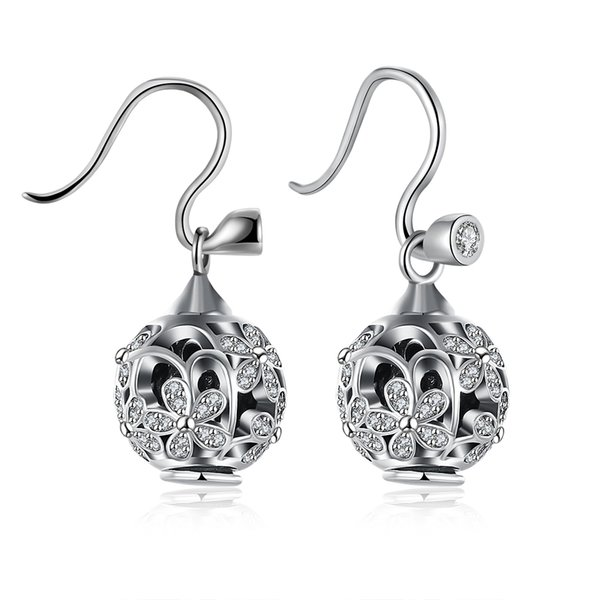Wholesale - Retail lowest prices Christmas Present, Free Shipping, New 925 Silver Fashion DIY525 Sterling Silver Pendants Diamond Earrings E