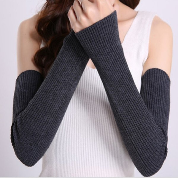 Miya Mona Knitted Gloves Women Winter Arm Warmers Cashmere Fingerless Long Gloves Solid Warm Mittens Elbow Thread Sleeves