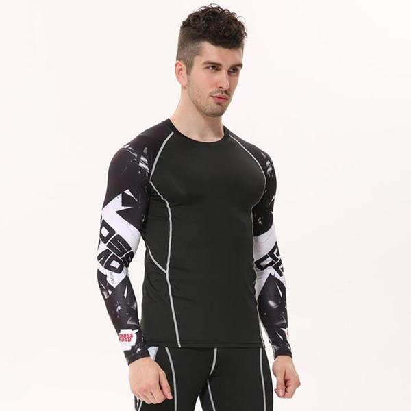 Spandex Mens Compression Shirts 3d Teen Wolf Trikots Langarm T-Shirt Fitness Männer Lycra Mma Crossfit T-Shirts Strumpfhosen Markenkleidung