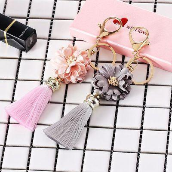 Cloth flower key ring Chiffon tassel car key chains Lady couple bag ornaments creative fashion charm flower ornaments keychain 4PCS/Lot