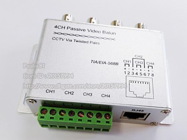 4ch video balun connector adapter, 4 port filtered passive cctv video balun  utp rj45 cat5
