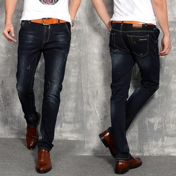 Cotton Black Men's Jeans 28 29 30 31 32 33 34 36 38 Fashion Business Casual Man Pants Slim Elegant Small Elasticity Trousers