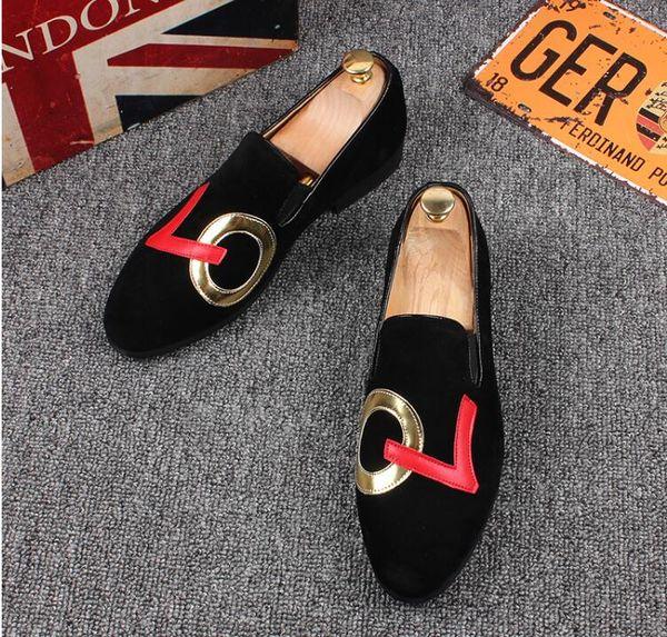 17ca1cc3fbf5e 2018 Promotion New spring Men Velvet Loafers Party wedding Shoes Europe  Style black Embroidered Velvet Slippers