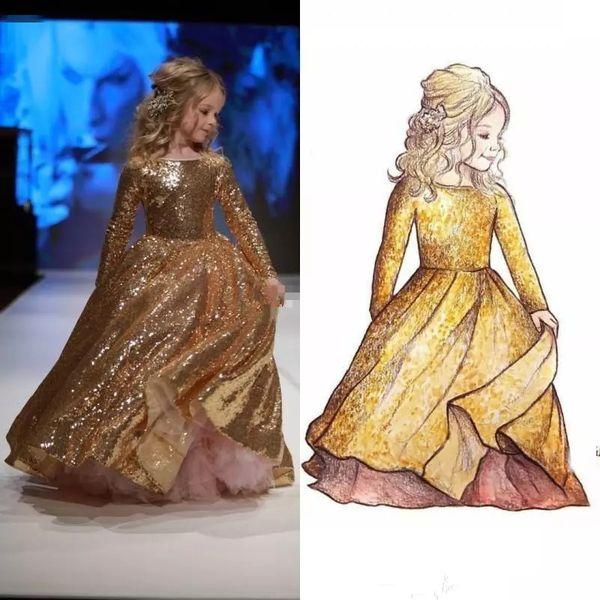 2019 vestido de baile de lantejoulas de ouro meninas pageant vestidos de mangas compridas vestido de menina da flor da criança até o chão jóia pescoço primeira comunhão vestidos