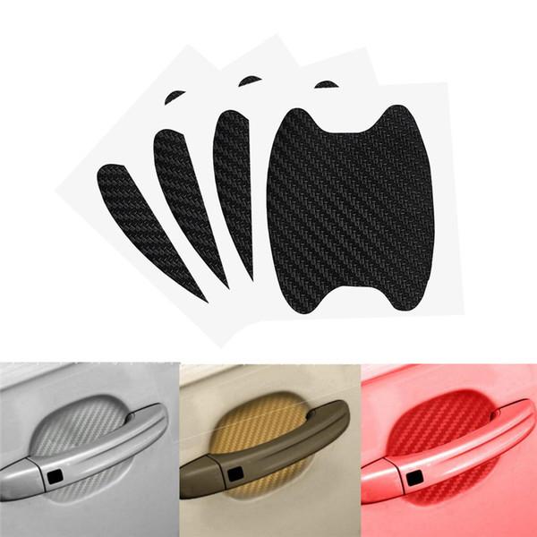 4 Teile / satz Auto Auto Tür Film Blatt Griff Kratzer Aufkleber Schutzfolie 3d carbon fiber Film Exterior Zubehör Auto-styling