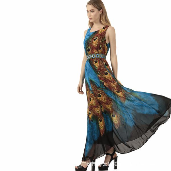 2017 Spring Xia Xinkuan Peacock Feather Printing Round Neck Chiffon Will Pendulum Sleeveless Dress clothing ladies dresses woman