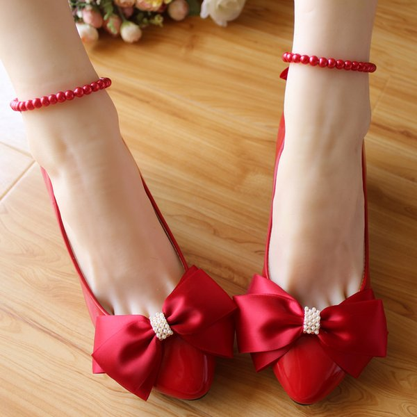 White And Red Bow Wedding Shoes 3Cm Low Heels Pumps Beaded Buckles Women Shoes Summer 2018 Ladies White Shoes Bow Heels 8.5Cm