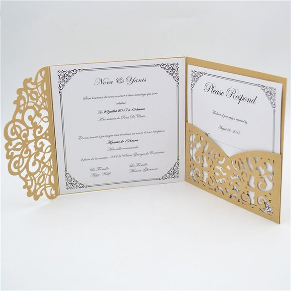 2019 2018 Tri Folded Light Brown Hot Sale Romantic Pocket Laser Cut Wedding Invitations Luxury Cards Cheap Chinese Personalised Handmade Envelope From