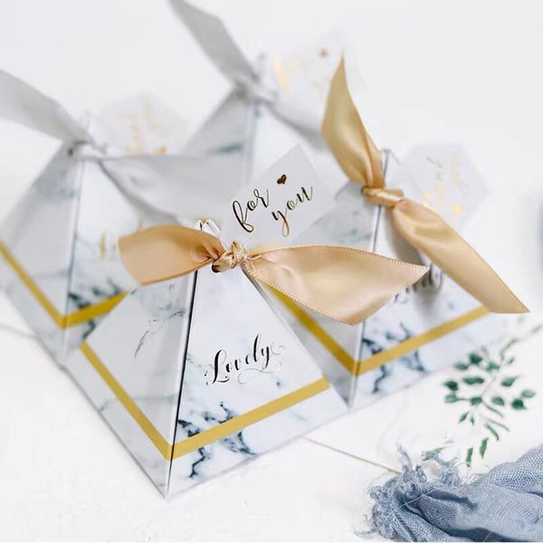 100pcs Triangular pyramid lovely gray golden marble style Wedding Favor Candy Box Party Christmas Gifts Box + Ribbon + tags
