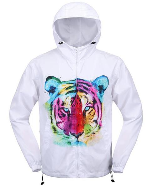 3D Colorful tiger quick-dry Windbreaker Hip Hop Waterproof Anti-UV Light Street wear Hooded jacket novel men's long trench coats
