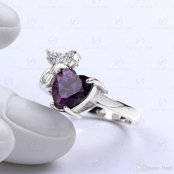 Free Shipping 2017 New Heart shaped zircon ring for foreign trade