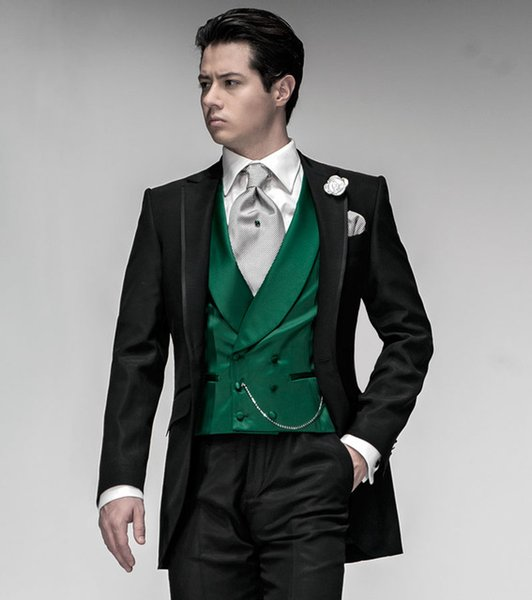 Latest Coat Pant Designs Italian Black Green Satin Men Suit Jacket Prom Tuxedo Slim Fit 3 Piece Groom Custom Blazer Masculino