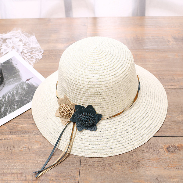 New Fashion Summer Spring Leather Rope Flower Sun Hats For Women Wide Brim Straw Hats Female Outdoor Casual Beach Sun Shade