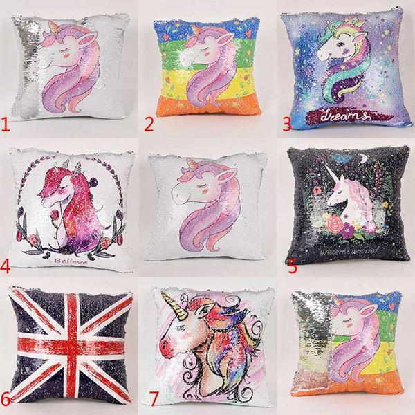 2018 Sequins Unicorn Cushion Cover ofa Pillow Case Cartoon Decorative Mermaid Pillows For Sofa Reversible Pillowcase Home Decor Drop 022