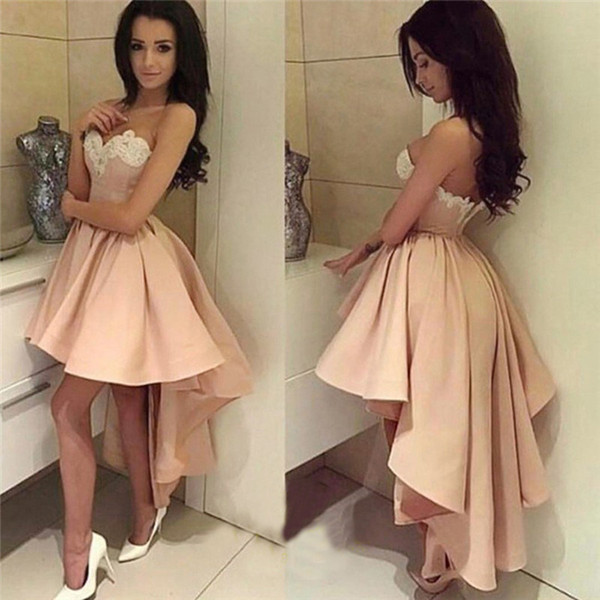 2018 High Low Short Prom Dresses light Pink White Lace Cocktail Dresses Sweetheart Sexy Low Back short front long back Formal Party Gowns