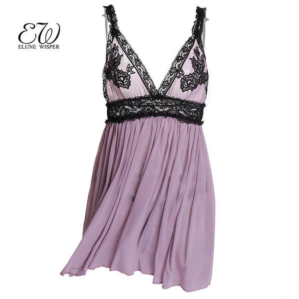 EW 2018 Sexy Lingerie Women babydoll Dress lingerie sexy hot erotic sex costumes Lace Nightwear Sleepwear Nightgowns D18110801