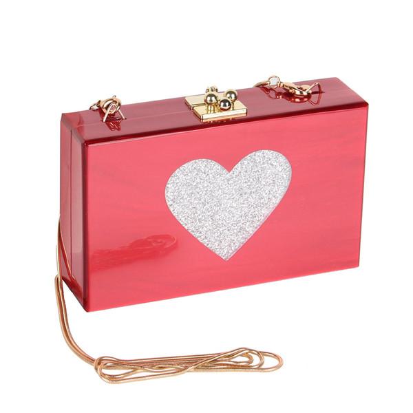 2017 Nuevo Corazón Embrague Bolsas de Noche de Acrílico Mujeres de La Moda de Primavera Boda Bolsa de Hombro de Las Señoras Ocasional Acrílico Bolso de Mano Del Amor