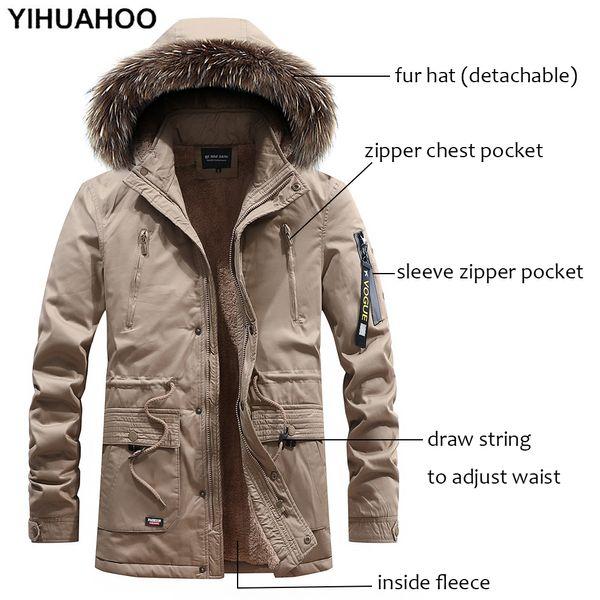 Veste D/'hiver Pour Hommes Down Parka Avec Fourrure Et Capuche Poches Coton Polaire Vêtements