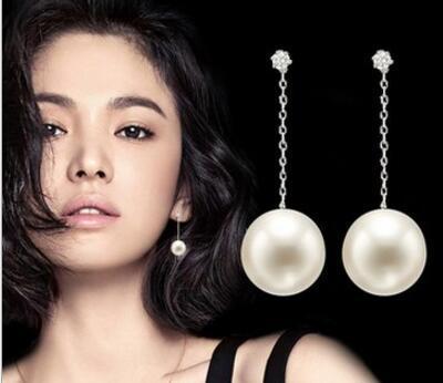 Korean women's simple wild fashion jewelry Pearl zircon long tassel earrings Silver