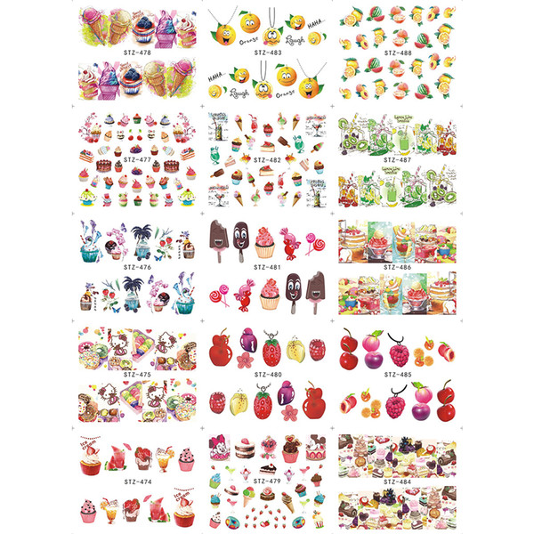 15pcs Water Transfer Nail Art Stickers Charming Summer Design Color DIY Ice Cream/Fruit/Cherry/Strawberry Tip Decor SASTZ474-488