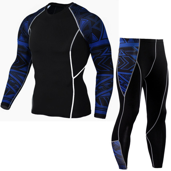 Quick Dry Fit Compression Tracksuit Fitness Tight Running Set T-shirt Legging Men's Sportswear Workout GYM Sport Suit P06