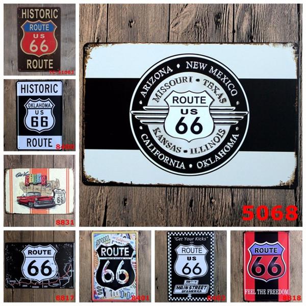 20 * 30 cm Carteles de chapa de época Rectángulo Sin marco Pintura de hierro Ruta histórica EE. UU. 66 Calle principal de América Cartel de chapa Popular 3 99ljV BB
