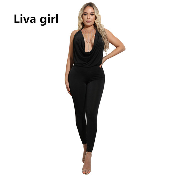 815cb639d577 plus size white bodycon jumpsuit Promo Codes - rompers womens jumpsuit plus  size sexy backless bodycon